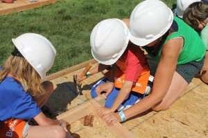 Children hammering