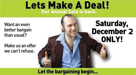 Make a Deal Day Sat Dec 2, 2017